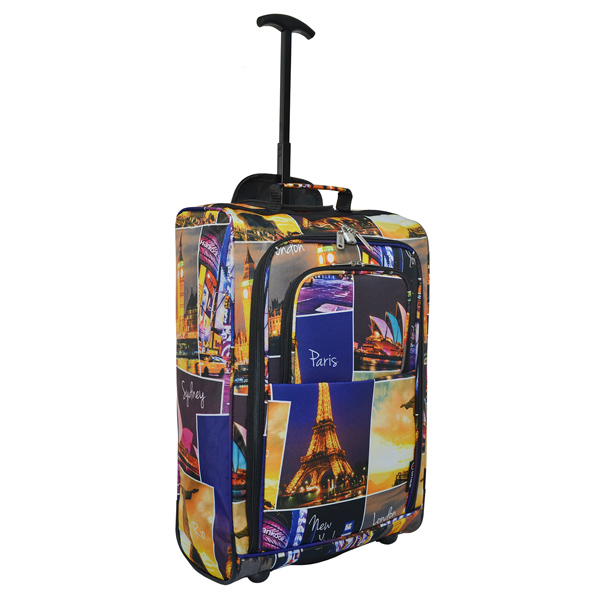 fashion polyester full printing travel trolley luggage bag with pocket